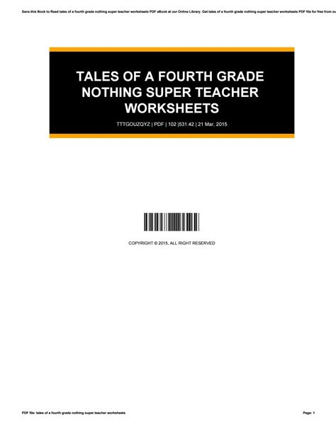 tales of a fourth grade nothing worksheets