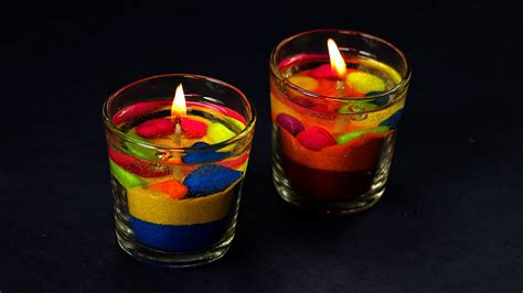 diy colorful gel candles making diwali decoration ideas