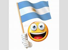 Emoji Holding Argentinian Flag, Emoticon Waving National