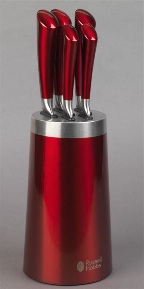russell hobbs heritage romano red  piece kitchen knife set  knife block cookware