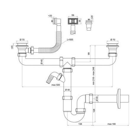 siphon tubulaire pour 233 vier deux bacs 70mm trop plein rectangulaire verticale horiz sortie