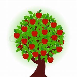 Vector Illustration Of An Apple Tree On White Background