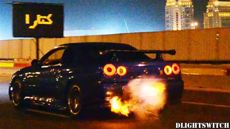 nissan skyline gt  flames  night youtube