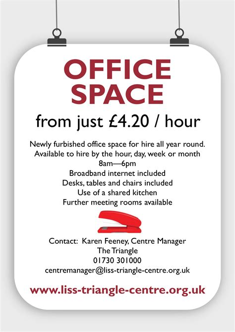 Office Space Poster by Rooms Hire Sizes The Triangle Centre