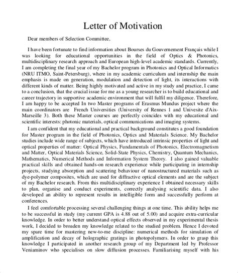 sample motivation letters  word sample templates
