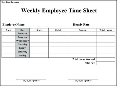 Weekly Timesheet Template Weekly Timesheet Template Aesthetecurator