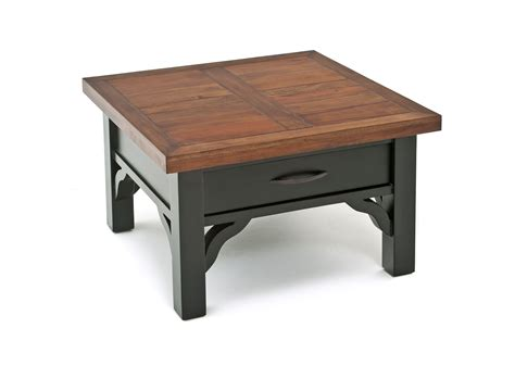 A table with a simple rectangular top and four solid and robust wooden legs. Rustic Coffee Table, Painted Coffee Table, Cottage Design