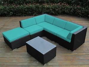 Ohana collection 6pc sunbrella outdoor sectional sofa set for Ohana outdoor sectional sofa