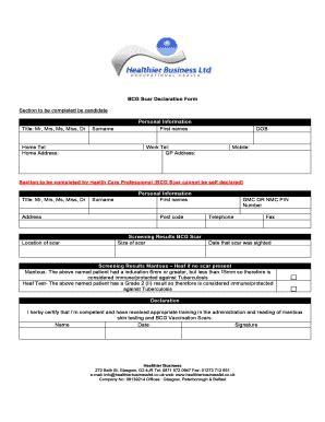 fillable online jenniereeves co jrra healthier business bcg scar declaration form 1208 doc
