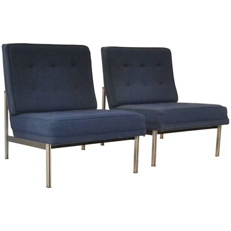 mid century modern pair of parallel armless lounge chairs