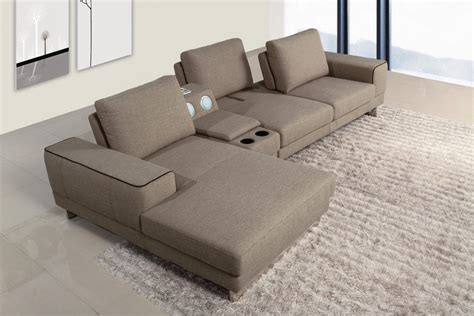 fabric sofas and sectionals gatsby modern fabric sectional sofa w beverage console