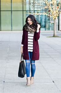 Burgundy Cardigan Outfit + 2017 New Yearu0026#39;s Blog Resolutions | Just A Tina Bit