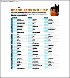 Beach Packing List Template