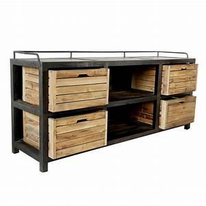 Buffet Metal Et Bois : buffet 4 tiroirs en bois recycl et m tal koya design ~ Melissatoandfro.com Idées de Décoration