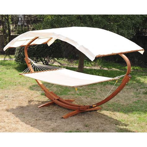 hammock with stand and canopy outsunny 2 person wood swing arc hammock bed and stand set
