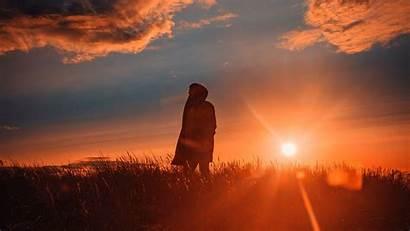 Alone Sunset Field 4k Grass Laptop Sunlight