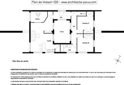 plan maison avec patio interieur plan maison patio 126 plan rdj sans 233 chelle maison d architecte 126