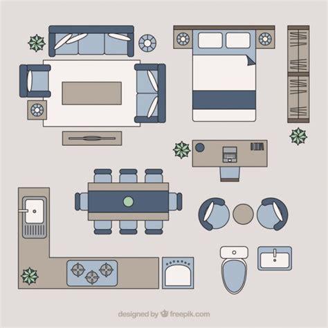 home furniture  top view vector premium