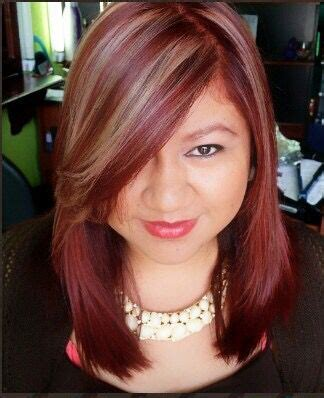 cabello rojo pasion  mechas beige mechas beige