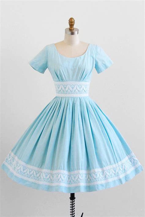 Cotton Dress Baby Blue vintage 1950s dress 50s dress sky blue cotton dress