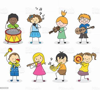 Instruments Musical Playing Children Clipart Illustration Vector