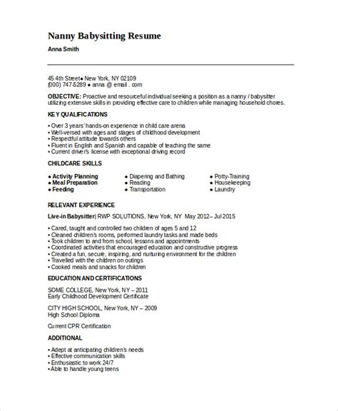 Babysitting Resume by Nanny Resume Template 5 Free Word Pdf Document
