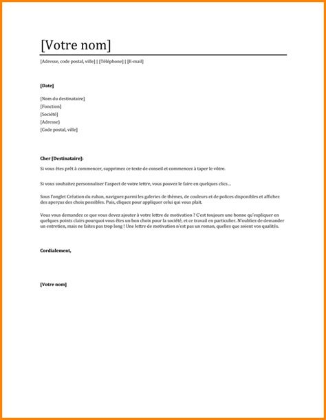 6 lettre de motivation candidature spontan 233 e administratif format lettre