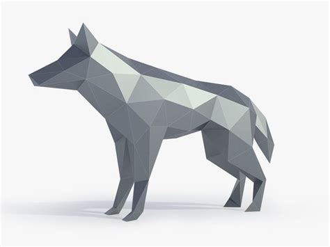 poly wolf sculpture  printable model cgtrader