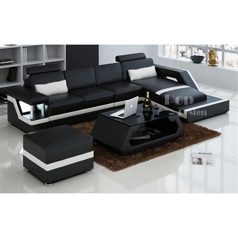 canape de luxe cuir canapé d 39 angle design en cuir véritable tosca pouf pop