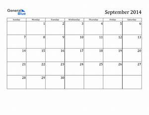 Blank September 2014 Calendar Printable