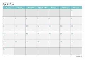Kalender April 2018 zum Ausdrucken iKalender