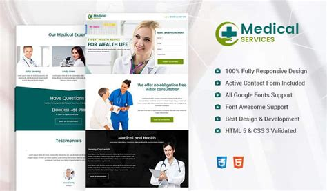responsive medical landing page design template