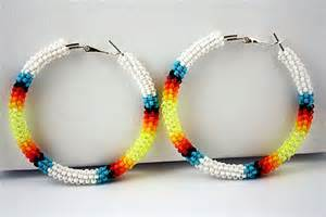 hoop beaded earrings white american beaded hoop earrings