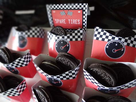 race car party food ideas spare tire snack boxes