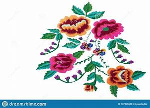 Craft  Beautiful Embroidered Flowers On A White Background