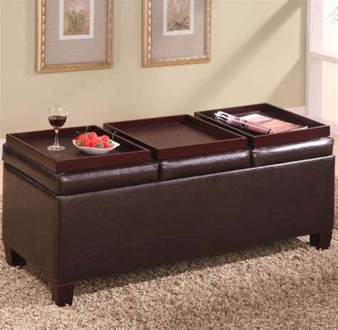 reversible ottoman coffee table ottomans contemporary faux leather storage ottoman with