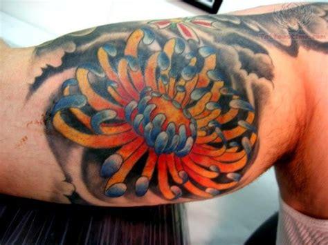 chrysanthemum flower tattoo   bicep
