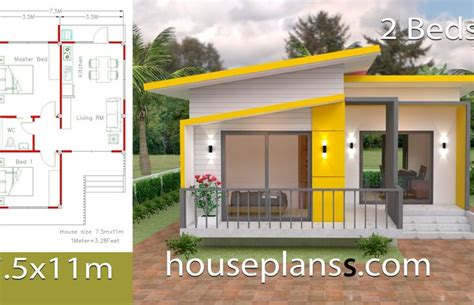 House Design Plans 7x12 with 2 Bedrooms Full Plans ผัง