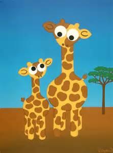 Mom and Baby Giraffe Paintings