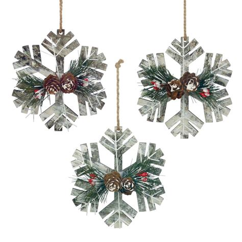 wholesale rustic snowflake ornament trio buy wholesale