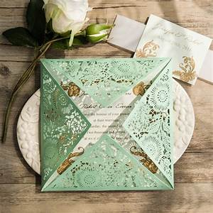 elegant mint green laser cut wedding invitations ewws116 With elegant wedding invitations in the philippines