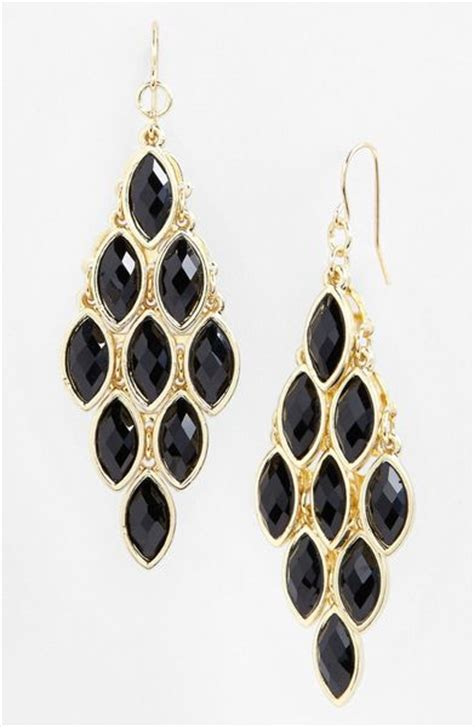 chandelier earrings in gold black gold lyst