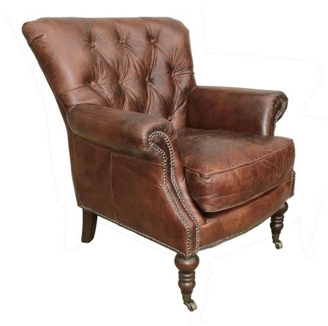 leather tufted club chair traditional armchairs
