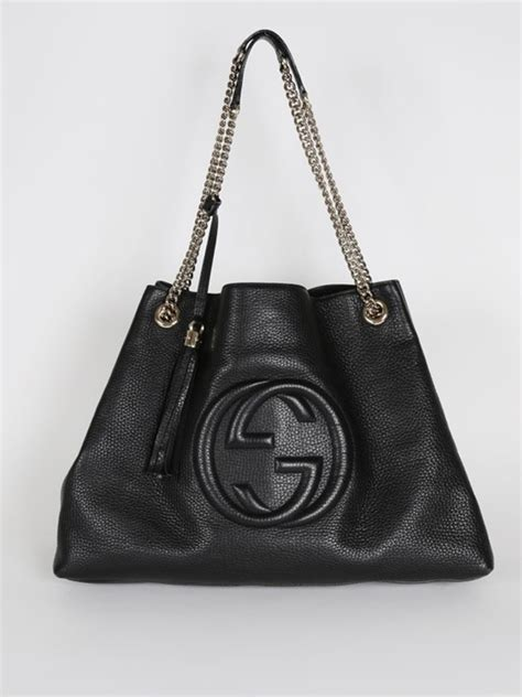 gucci soho large chain shoulder bag black leather luxury bags