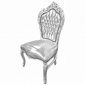 Chaise Style Baroque : chaise de style baroque rococo simili cuir argent et bois argent ~ Teatrodelosmanantiales.com Idées de Décoration