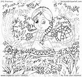 Outline Coloring Strawberry Patch Royalty Clipart Illustration Bannykh Alex Rf sketch template