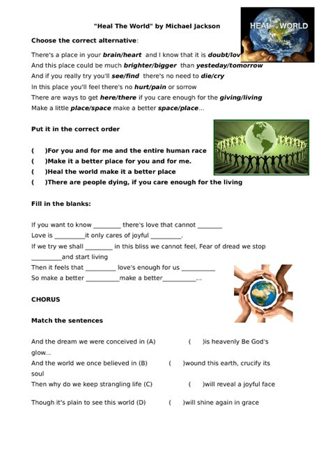 Song Worksheet Heal The World By Michael Jackson