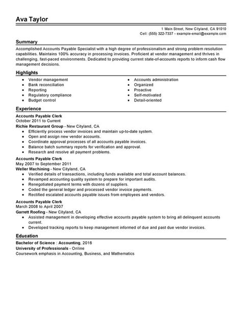 accounts payable specialist resume sle my resume