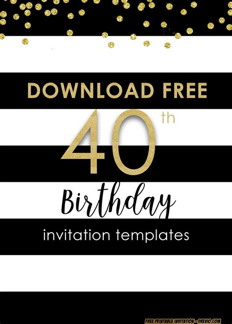 FREE Printable 40th Invitation Templates UPDATED