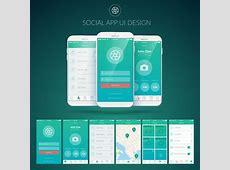 Mobile social app interface design vector Free vector in